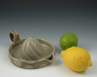 Citrus Juicer in Green and Grey Polka Dot Pattern Handmade Ceramics Handmade Pottery