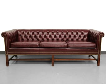 Vintage Chippendale Style Burgundy Leather Chesterfield Sofa