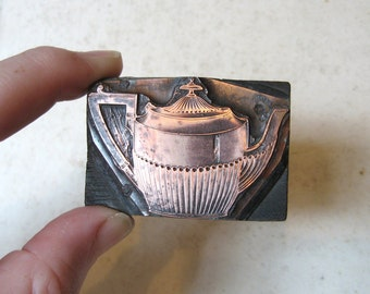 Antique Copper Letterpress Printers Wooden Block of a Regency Style Victorian Teapot c1890