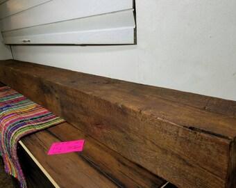 "Vintage Reclaimed Barnwood Beam Fireplace Mantle 94.5"" Long Reclaimed Wood Shelving"