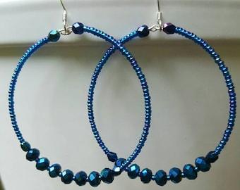 Blue beaded hoops, Irridescent blue beaded hoops, beaded hoops, Czech crystal beaded hoops, Czech blue beaded hoops