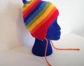 Vintage Rainbow Hat, Knit Rainbow Hat, Rainbow Toque