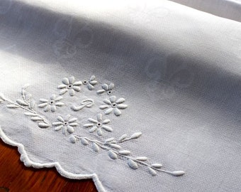 Vintage Linen Towel Damask Monogram P White Bath Runner Fleur de Lis Scallop Hand Embroidery
