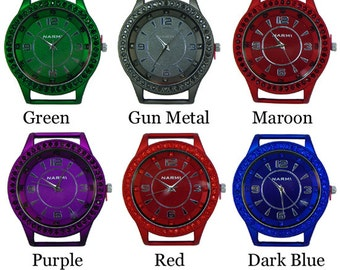 Neon CZ Aluminum Rubberized Solid Bar Watch Face ~ 42 mm