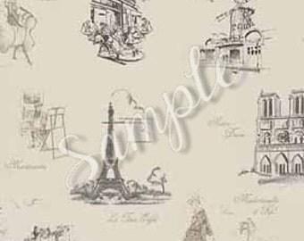 """Dollhouse Miniature Wallpaper """"Joie de Vivre de Paris"""", Scale One Inch"""