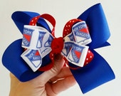 New York Rangers bow.  Christmas bow.  Football bow.  Back to school.  Birthday girl. NFL. Game day. Rts