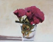 Pink Chrysanthemum Floral Still Life Painting, 8x10 inch Oil on flat wood panel, not framed, Canadian art