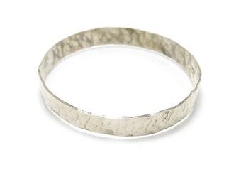 Hammered Silver Bangle - Simple Silver Bangle - Textured Bangle - Hammered Sterling Bangle - Textured Nickel Bangle - Plain Bangle Bracelet