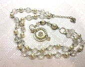 Vintage Button & Pearl Necklace