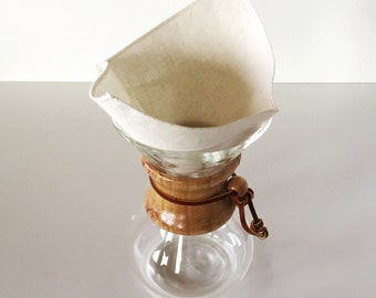 100% Organic Cotton Reusable Coffee Filters Square Chemex 6 Cup Style- Choose Your Quantity