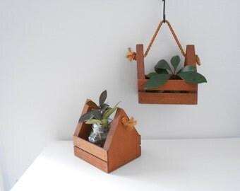 Vintage Geometric Hanging Planter Set of 2 Wooden Boho Modern Planters