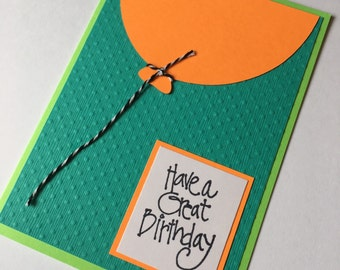 Orange and Turquoise Birthday Card **READY TO SHIP**
