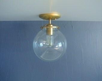 Large Glass Globe Brass Flush Mount Ceiling Light
