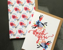 Pack of 6 thank you cards and 6 patterned notelets - Thank you pack - Pretty Floral Notelets
