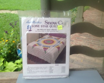 Snow Cap Lone Star Quilt Kit, Aunt Martha's Quilt Kits, Quilt Making Supplies