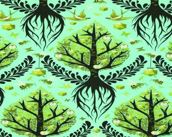 The Birds And the Bees by Tula Pink for Free Spirit - Tree Of Life - Pool - 1/2 Yard Cotton Quilt Fabric 516
