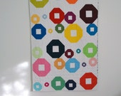 Bright Quilt, Modern Quilt, Geometric Bedding, Multicolored, Rainbow Throw, Modern Lap Quilt