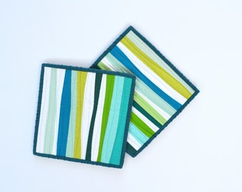 Aqua Pot Holders, Pot Holders, Modern Kitchen Decor, Teal, Aqua, Green