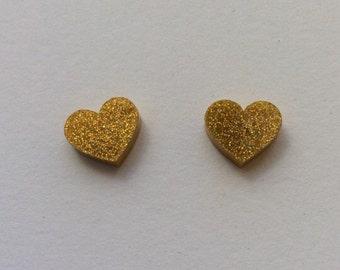 Large gold hologram glitter Acrylic / perspex laser cut earrings heart studs