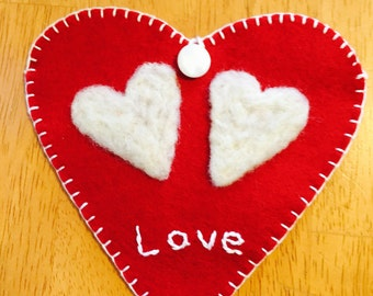 Needle Felted White Hearts on Red Wool Heart Pocket