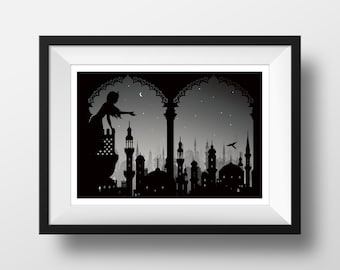 The Arabian Nights- themed Black and White Silhouette illustration Giclée Archival Art print,  Wall Art Prints, Literary Gift