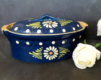 Large French Casserole Dish Terrine.Blue Faience Clay Tureen.French oven dish Pottery
