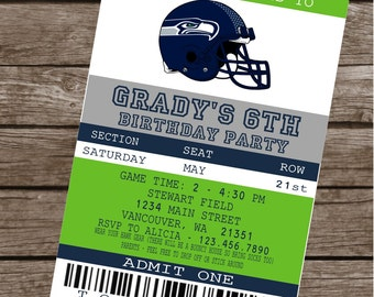 SEATTLE SEAHAWKS FOOTBALL Inspired Themed Birthday Party or Baby Shower Invitations Set of 12 {1 Dozen} - Party Packs Available