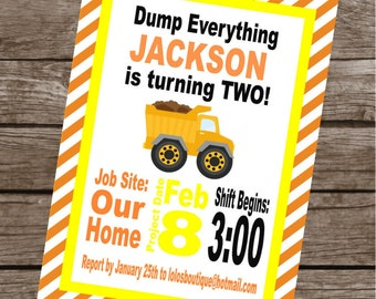 CONSTRUCTION ZONE Happy Birthday Party or Baby Shower Invitations Set of 12 {1 Dozen} - Party Packs Available