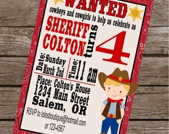 CUTE COWBOY Happy Birthday Party or Baby Shower Invitations Set of 12 {1 Dozen} - Party Packs Available