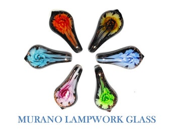 Murano Lampwork Glass Pendant, your choice of one of six colors, 50mm X 30mm, floral water drop with copper colored foil accents, per piece