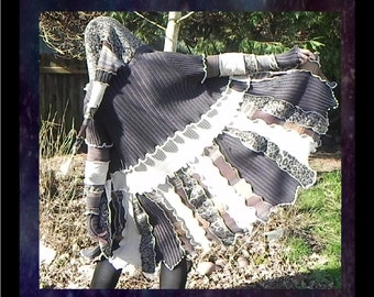 Patchwork elf coat, pixie sweater, boho hippie jacket, handmade from upcycled knits, Leopard mouse colors in grey, brown, cream and leopard