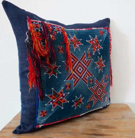 Vintage Hmong Pillow Cover-Vintage Hemp Cross StitchTextile