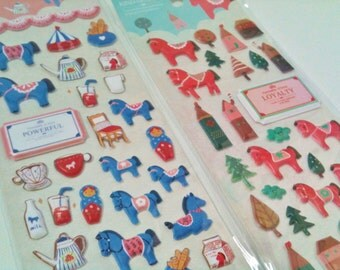 4 sheets of stickers, horses
