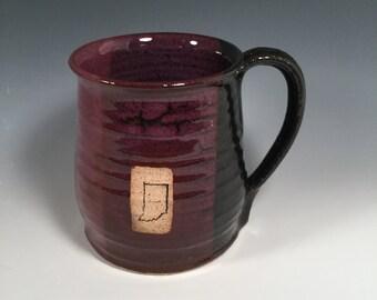 Mug -  Coffee  16 ounce - Ready to Ship - Purple and black - Indiana bicentennial  - Indiana stamp  - ceramics - pottery - stoneware