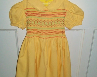 Vintage Hand Smocked Dress Yellow Toddler Dress Peter Pan Collar Size 2