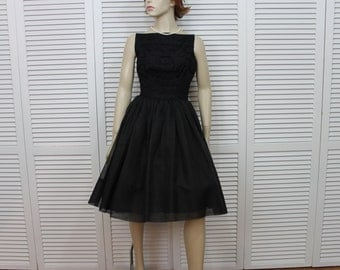 Vintage Black 1950s Party Dress Jonathan Logan Size Small
