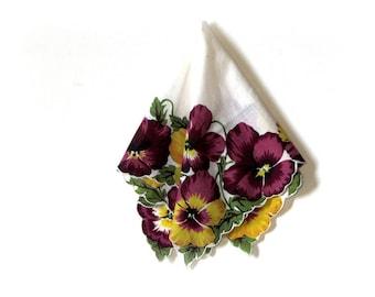Vibrant Purple Magenta and Yellow Pansy Border Printed Square Handkerchief Scalloped Edge Hankie Doll Supplies Mid Century Bridal