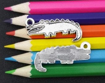 5 PCS - Alligator Gator Crocodile Animal Louisiana Silver Tone Charm Pendant C1539