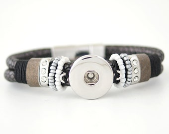 """1 Brown Leather Beads Bracelet - 7.5"""" Fits 18MM Candy Snap Charms Silver kc0001-b CJ0304"""