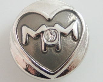 1 PC 18MM Mom Rhinestone Silver Snap Candy Charm KB8073-n Cc1929