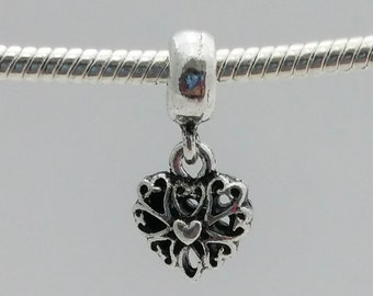 3 Beads- Heart Dangle Silver European Bead Charm E1541