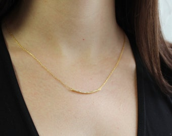 Curved Pave Bar Necklace, Delicate Bar Necklace, Gold and Pave Crystals Diamond Bar Necklace,  Gold Bar Necklace, Crescent Bar
