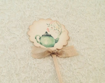 Teapot Topper- tea party tea time -Bridal Luncheon Party Decorations-Wedding Party cupcake toppers
