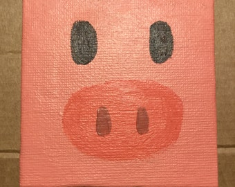 Mini Canvas, Hand Painted, Pink Pig