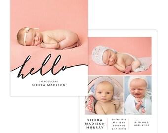 INSTANT DOWNLOAD - Photoshop Birth announcement template -  e1290
