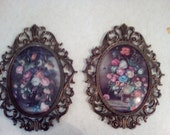 Ornate Metal Oval Convex Glass Framed Floral Pictures