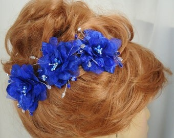 Royal Blue Hair Clips, Delphinium Hair Clips, 3 Hair Clips, Something Blue, Wedding Accessories