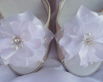 Bridal Shoes Clips, Charmeuse Organza Shoe Clips, Flower Shoe Clips, Wedding Accessories