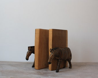 Teak Zebra Animal Bookends