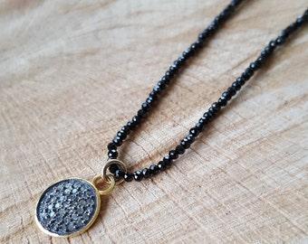 DIAMONDS DISCS BLACK  micro spinel necklace/bohochic style jewelry/pave diamonds/black spinel gemstone necklace.